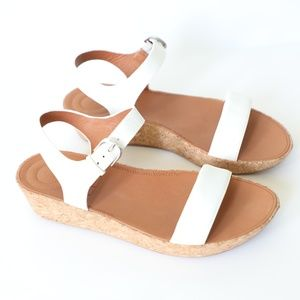 FitFlop Bon II Leather Back-Strap Cork Sandals 8